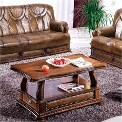 ESF Style Solid Wood Oakman Coffee Table in Brown