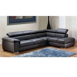 ESF Style Nicoletti Angel Leather Sectional with Right Facing Chaise in Gray