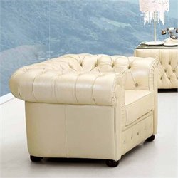 ESF Style Full Leather Club Chair in White