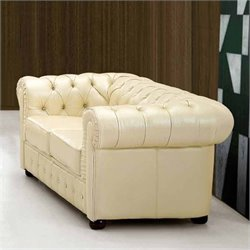 ESF Style Leather Loveseat in Creamy White