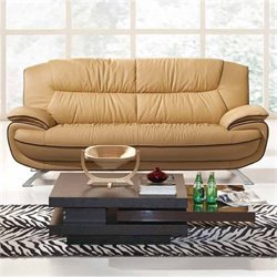 ESF Style Half Leather Sofa in Brown
