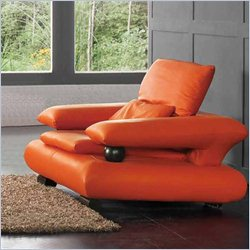 ESF Style Half Leather Chair in Orange