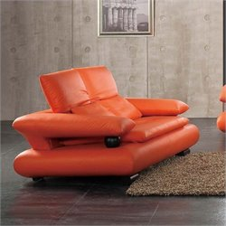 ESF Style Half Leather Loveseat in Orange