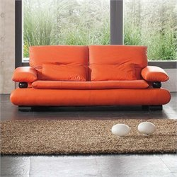 ESF Style Half Leather Sofa in Orange