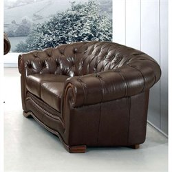 ESF Style Leather Loveseat with Rhinestones in Brown