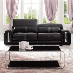 ESF Style Full Leather Sofa in Black