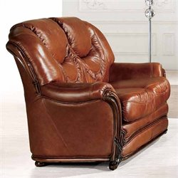 ESF Style Leather Loveseat in Brown