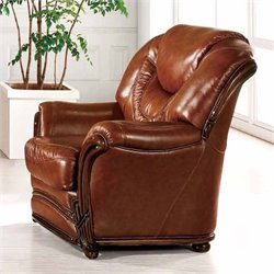 ESF Style Full Leather Club Chair in Brown