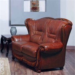 ESF Style Full Leather Loveseat in Brown
