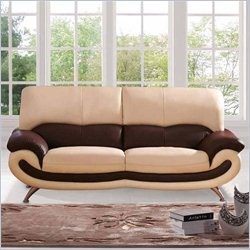 ESF Style Half Leather Sofa in Beige and Brown
