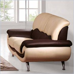 ESF Style Leather Loveseat in Beige and Brown
