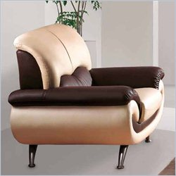 ESF Style Leather Club Chair in Beige and Brown