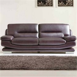 ESF Style Leather Sofa in Dark Purple and Brown