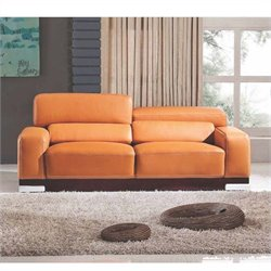 ESF Style Full Leather Sofa in Orange Brownies