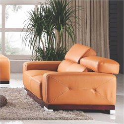ESF Style Full Leather Loveseat in Orange Brownies
