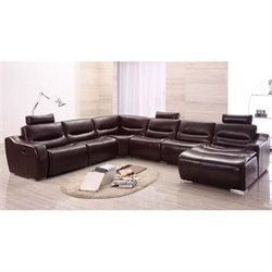 ESF Style Half Leather Sectional with Right Facing Chaise in Brown