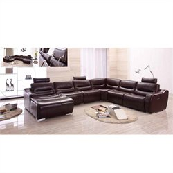 ESF Style Half Leather Sectional with Left Facing Chaise in Brown
