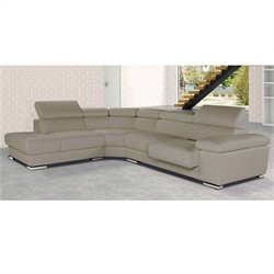 ESF Style Nicoletti Pacifico Leather Sectional with Left Facing Chaise in Taupe
