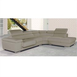ESF Style Nicoletti Pacifico Leather Sectional with Right Facing Chaise in Taupe
