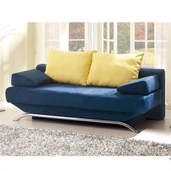 ESF Style Croma Blue Fabric Sofa with Storage in Blue