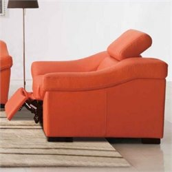 ESF Style Full Leather Reclining Club Chair in Orange