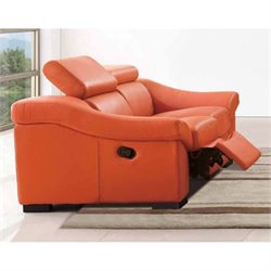 ESF Style Leather Reclining Loveseat in Orange