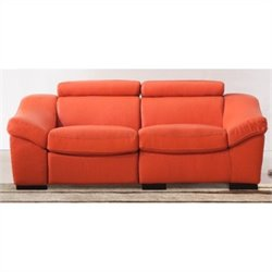 ESF Style Full Leather Reclining Sofa in Orange