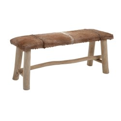 IMAX Corporation Andros Animal Hide Bench in Brown