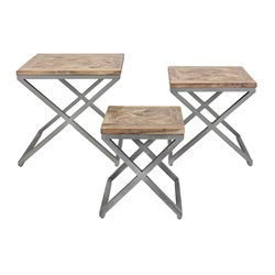IMAX Corporation Yellen 3 Piece XLeg Wood Table Set in Brown