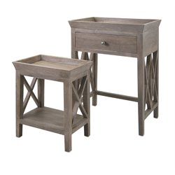 IMAX Corporation Britton 2 Piece Side Table Set in Brown