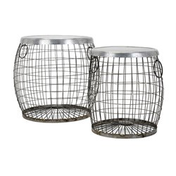 IMAX Corporation Balaz 2 Piece Wire Table Set in Gray