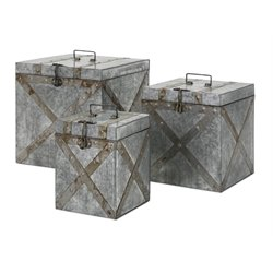IMAX Corporation Parry 3 Piece Galvanized Trunk Set in Silver