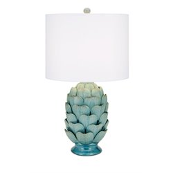 IMAX Corporation Unocha Dimensional Ceramic Table Lamp in Teal