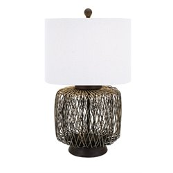 IMAX Corporation Bamboo Woven Table Lamp in Bronze