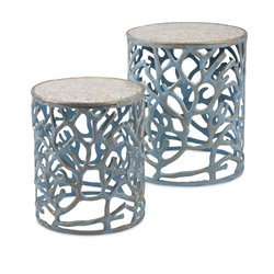IMAX Corporation Coral 2 Piece Mother of Pearl Table Set in Blue