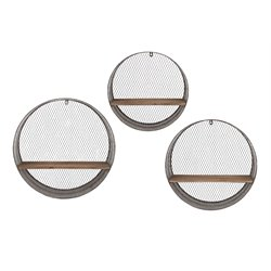 IMAX Corporation Laurel 3 Piece Round Wall Display Shelf Set in Gray