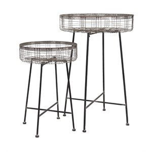 IMAX Corporation Pitzer 2 Piece Round Wire Plant Stand Set in Gray