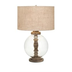 IMAX Corporation Mahin Wood and Glass Table Lamp in Brown