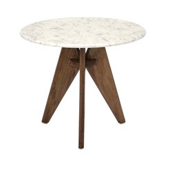 Febe Marble and Wood Table in White