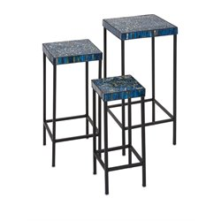 IMAX Corporation Peacock 3 Piece Mosaic Table Set in Blue