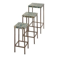 IMAX Corporation Glacier 3 Piece Mosaic Table Set in Green
