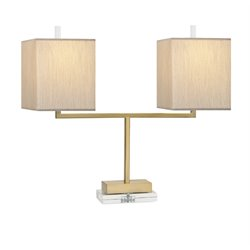 IMAX Corporation Beth Kushnick Lincoln 2 Light Table Lamp in Gold