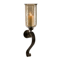 IMAX Corporation Medium Scroll Base Luster Glass Wall Sconce in Brown