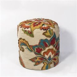 KAS Round Hand-Made Pouf in Ivory