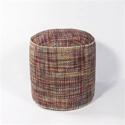 KAS Round Hand-Made Pouf in Red