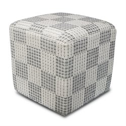KAS Square Hand-Made Pouf in Ivory