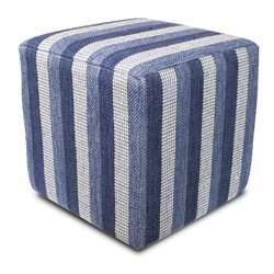 KAS Square Hand-Made Pouf in Denim