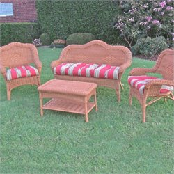 Blazing Needles Outdoor Wicker Settee Cushions (Set of 3)