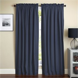 Blazing Needles 108 inch Twill Curtain Panels in Navy Blue (Set of 2)