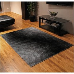 Blazing Needles Gradated Shag Rug in Black and Gray